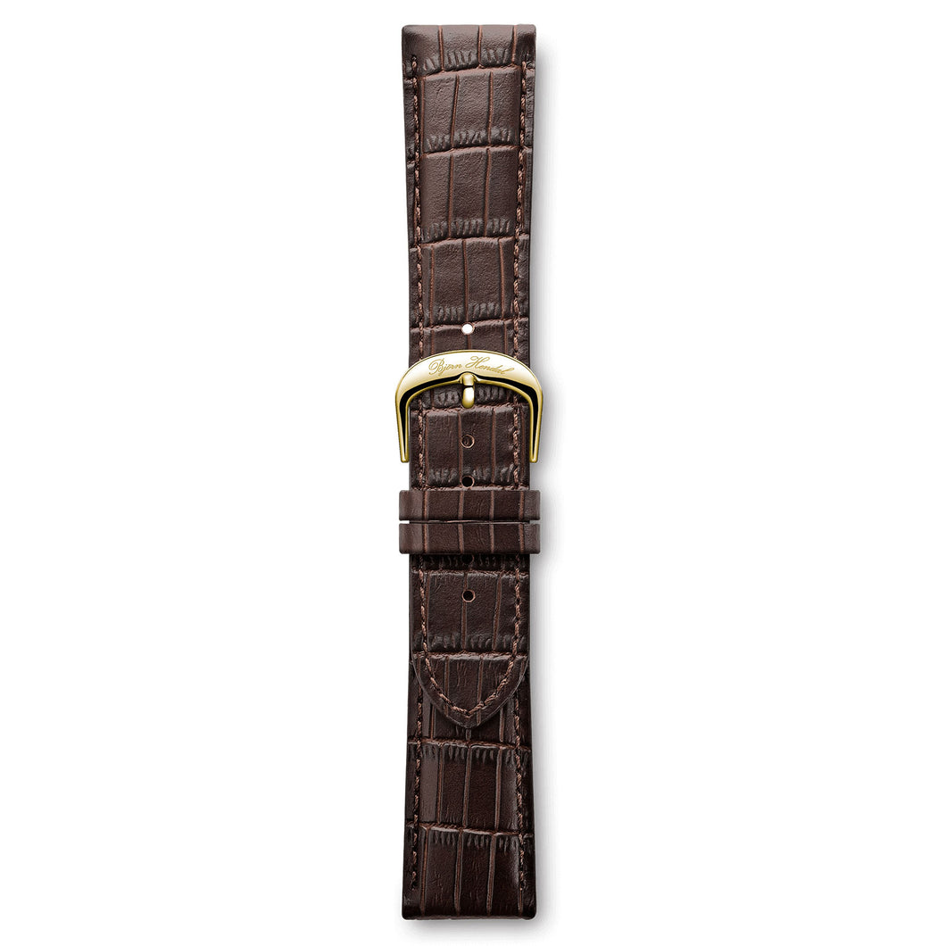 Italian Leather Strap Crocodile Dark Brown Yellow Buckle | Björn Hendal