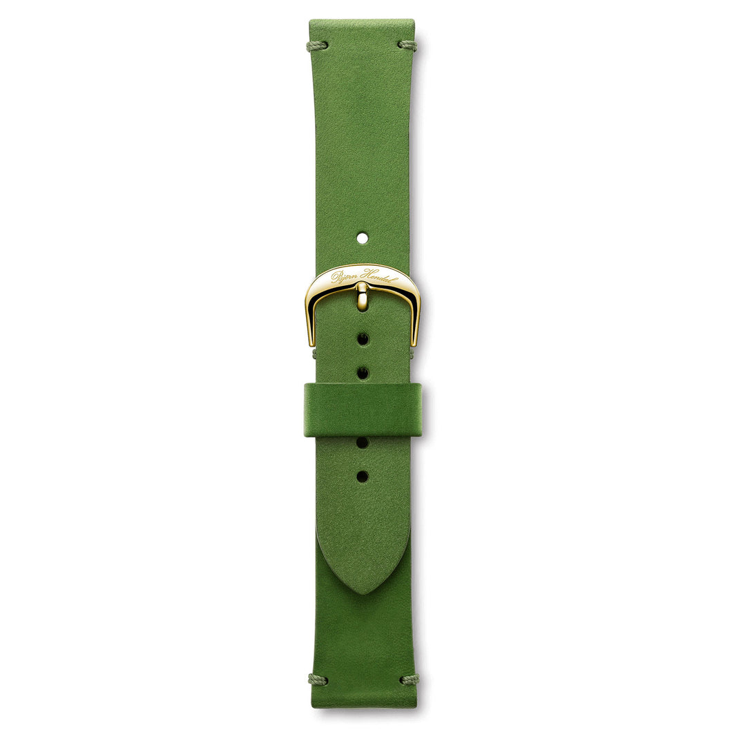 Handmade Italian Leather Strap Green Yellow Buckle | Björn Hendal