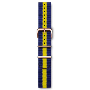 "Nato Strap Blue And Yellow ""Swedish"" Rose Buckles 