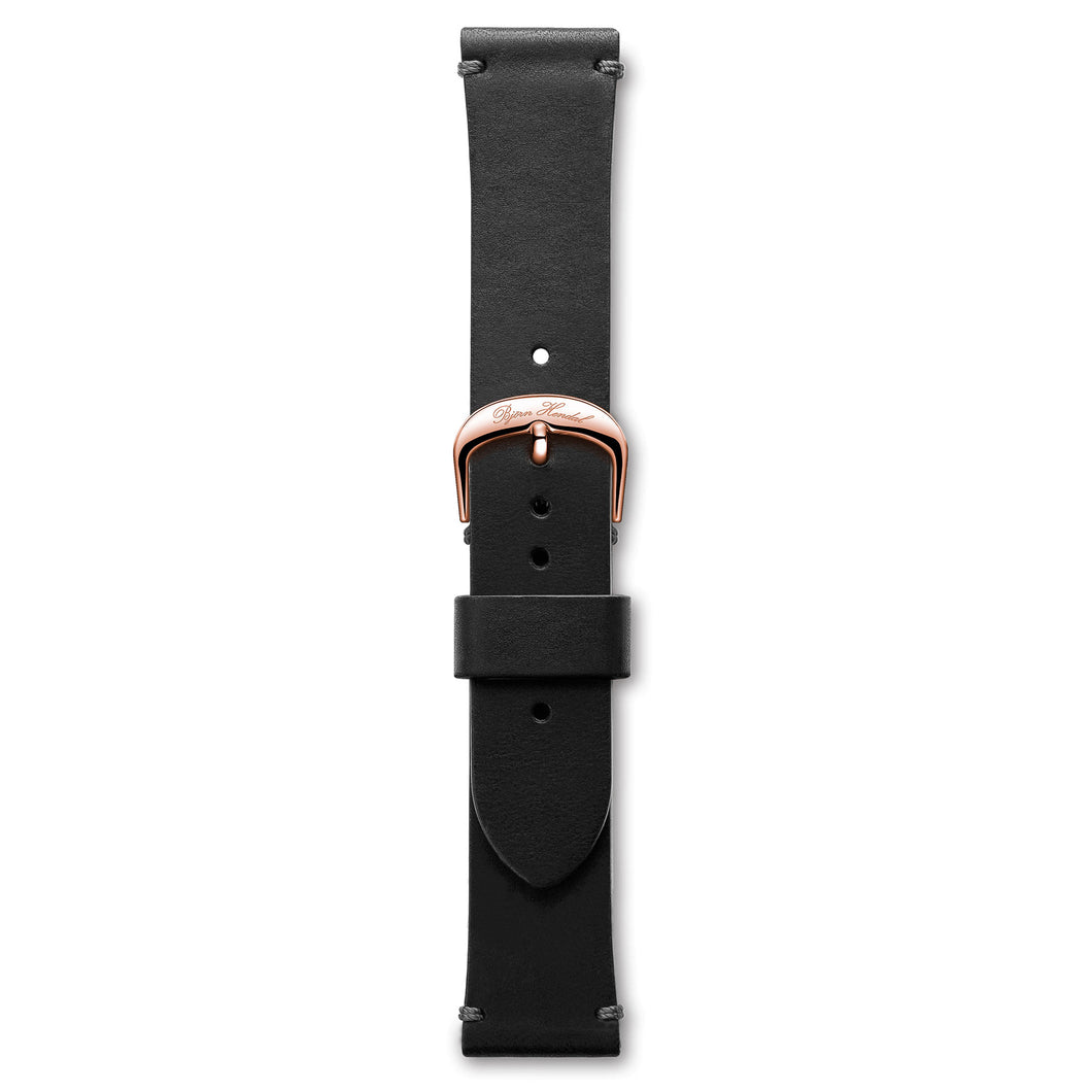 Handmade Italian Leather Strap Black Rose Buckle | Björn Hendal