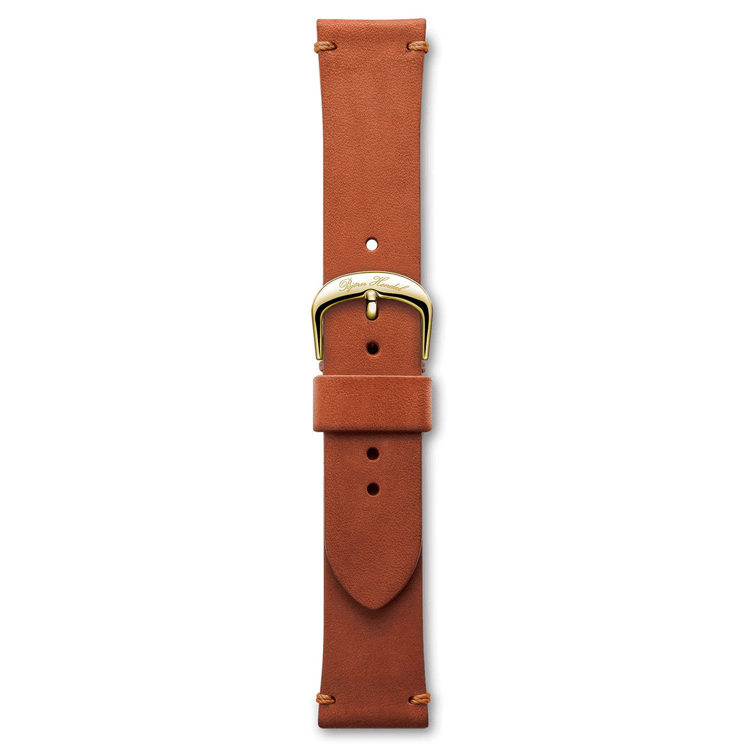 Handmade Italian Leather Strap Red Brown Yellow Buckle | Björn Hendal