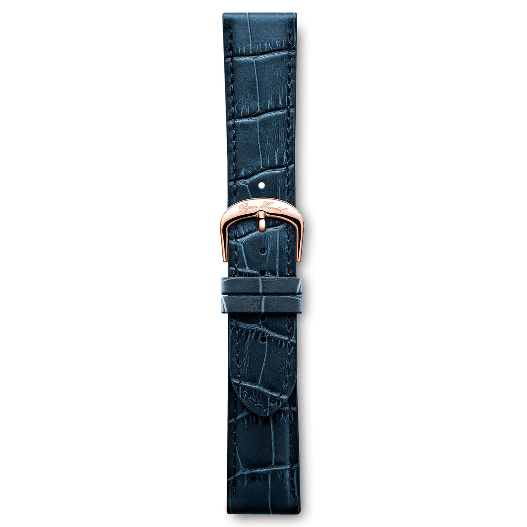 Italian Leather Strap Dark Blue Crocodile Rose Buckle | Björn Hendal