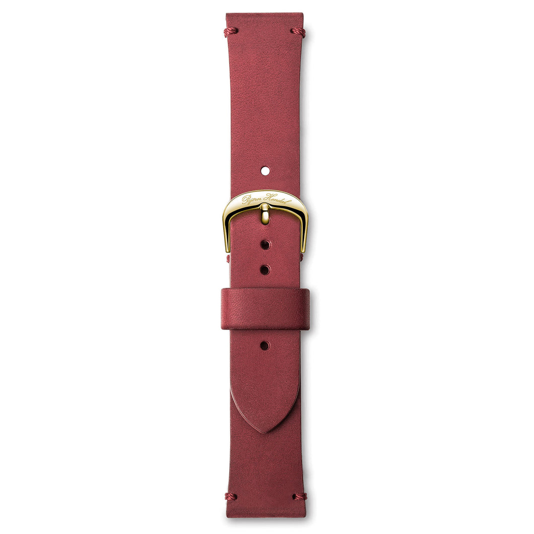 Handmade Italian Leather Strap Red Yellow Buckle | Björn Hendal