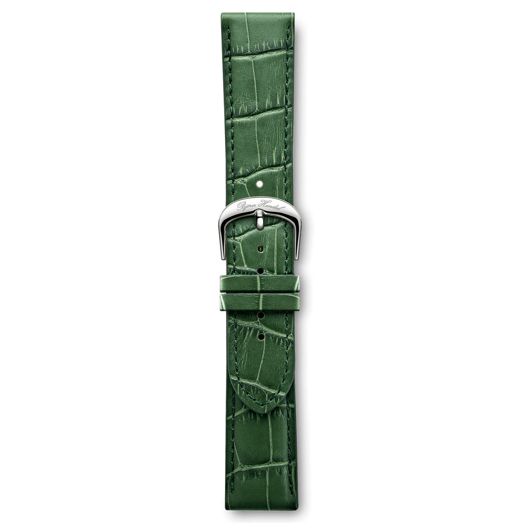 Italian Leather Strap Crocodile Green Steel Buckle | Björn Hendal