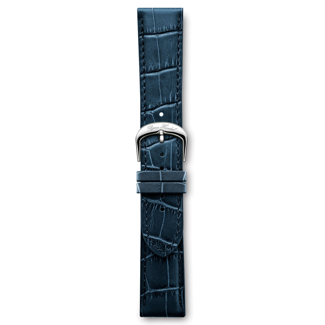 Italian Leather Strap Dark Blue Crocodile Steel Buckle | Björn Hendal