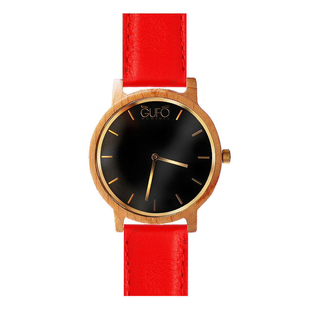 Gufo Black Moments Leather Red