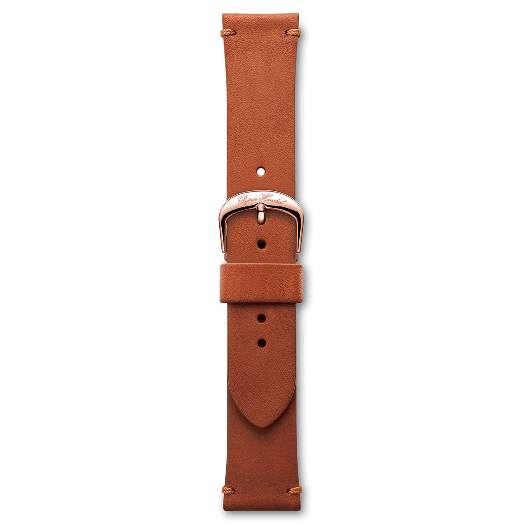 Handmade Italian Leather Strap Red Brown Rose Buckle | Björn Hendal