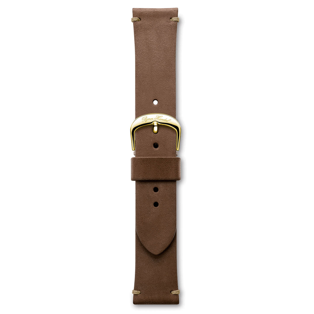 Handmade Italian Leather Strap Dark Brown Yellow Buckle | Björn Hendal