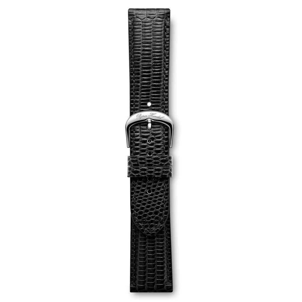 Italian Leather Strap Lizard Black Steel Buckle | Björn Hendal