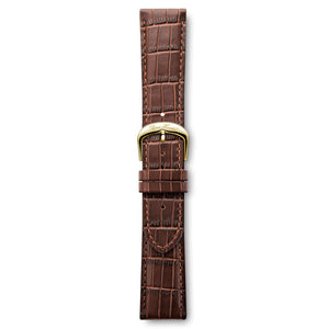 Italian Leather Strap Crocodile Brown Yellow Buckle | Björn Hendal