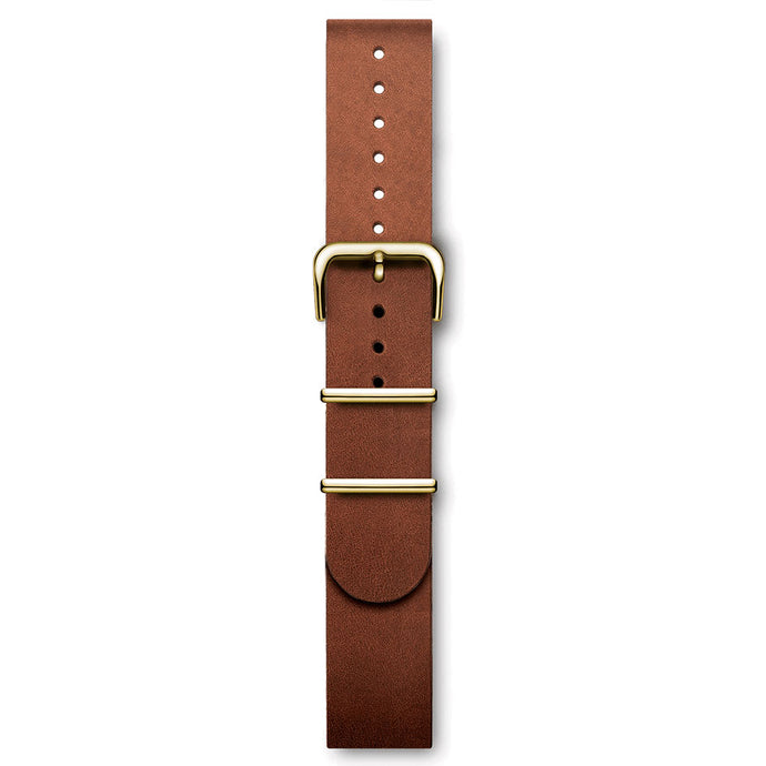 Handmade Italian Leather NATO Strap Brown Yellow Gold Buckles | Björn Hendal