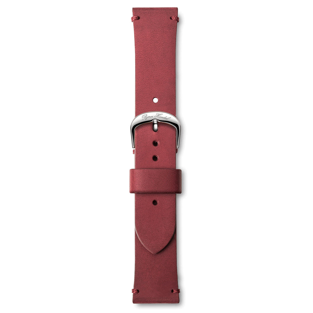 Handmade Italian Leather Strap Red Steel Buckle | Björn Hendal