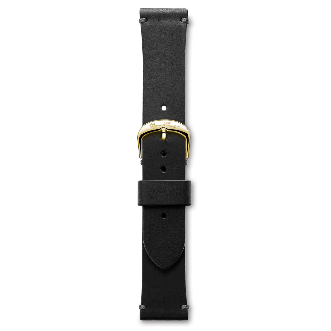 Handmade Italian Leather Strap Black Yellow Buckle | Björn Hendal