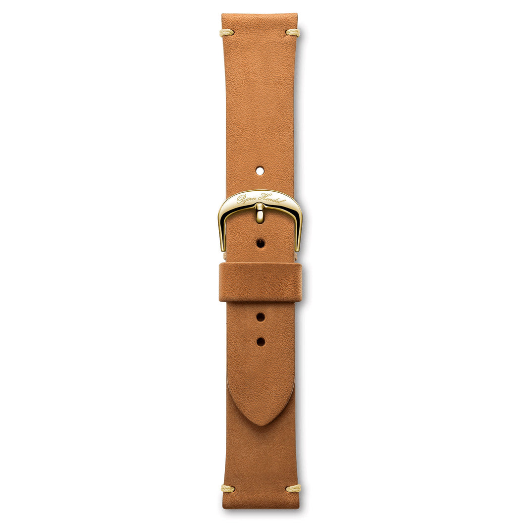 Handmade Italian Leather Strap Light Brown Yellow Buckle | Björn Hendal