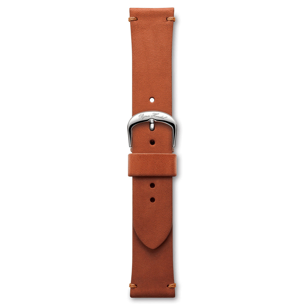 Handmade Italian Leather Strap Red Brown Steel Buckle | Björn Hendal