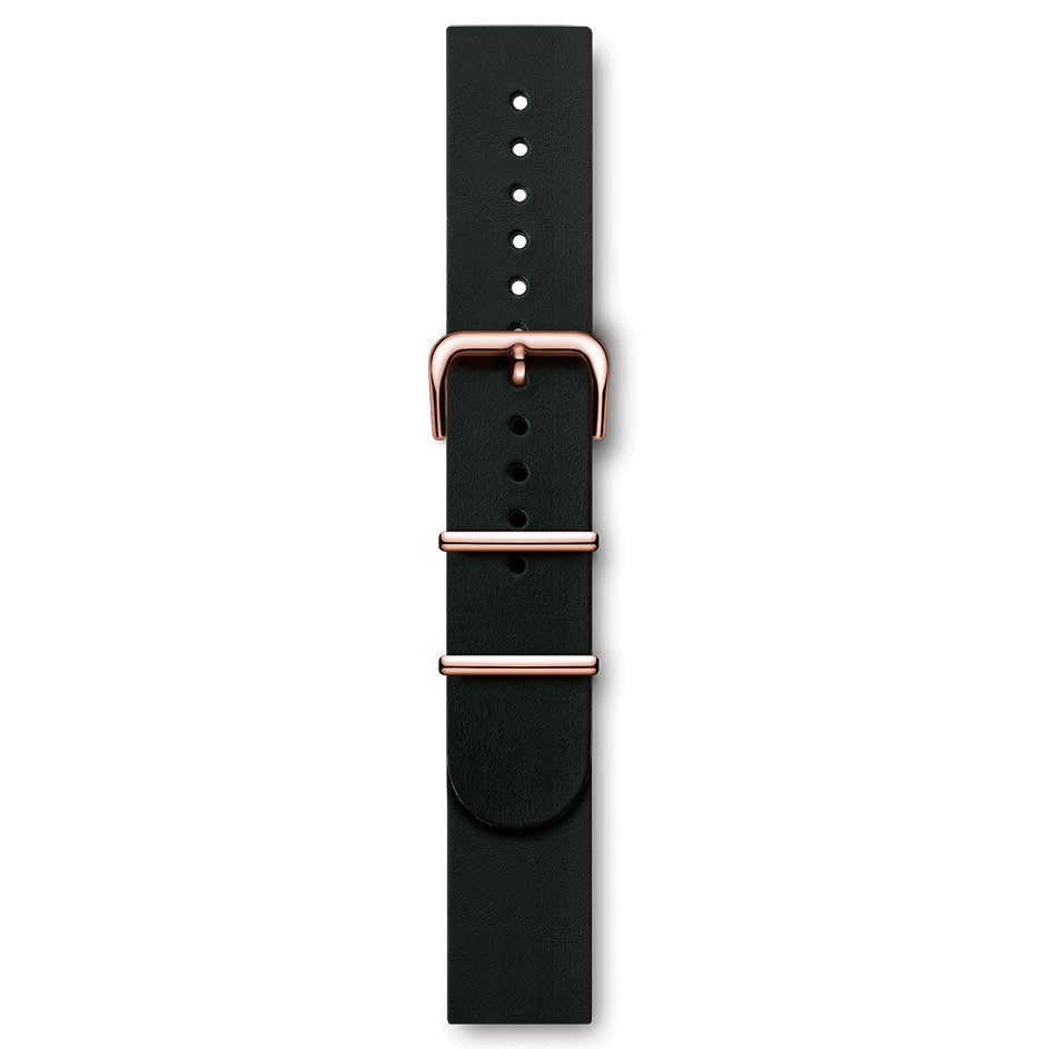 Handmade Italian Leather NATO Strap Black Rose Buckles | Björn Hendal
