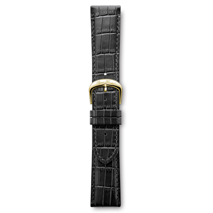 Italian Leather Strap Black Croco Yellow Buckle | Björn Hendal