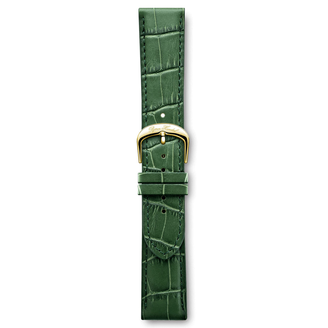 Italian Leather Strap Green Crocodile Yellow Buckle | Björn Hendal