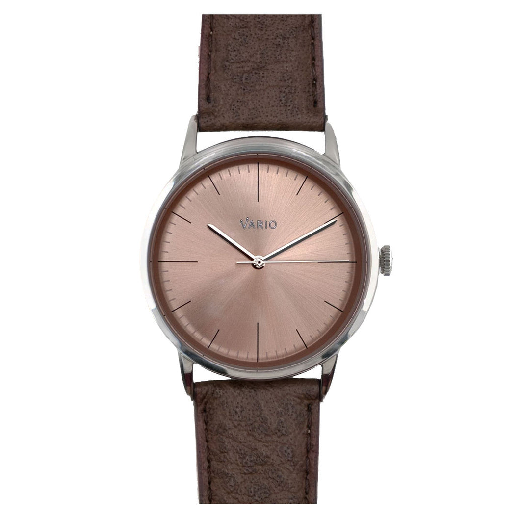 Vario Eclipse SunStone Champagne Handwound Dress Watch on ZRC Buffalo Watch Strap