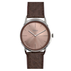 Vario Eclipse SunStone Champagne Sweeping Quartz Dress Watch on ZRC Buffalo Watch Strap