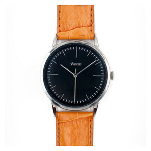 Vario Eclipse Onyx Black Sweeping Quartz Dress Watch on ZRC Alligator Grain Watch Strap