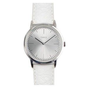 Vario Eclipse Pyrite Silver Sweeping Quartz Dress Watch on ZRC Buffalo Watch Strap