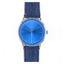 Load image into Gallery viewer, Vario Eclipse Topaz Blue Sweeping Quartz Dress Watch on Harris Tweed Watch Strap