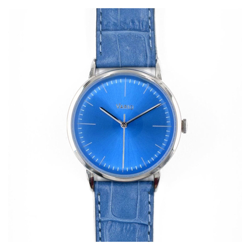 Vario Eclipse Topaz Blue Sweeping Quartz Dress Watch on ZRC Alligator Grain Watch Strap