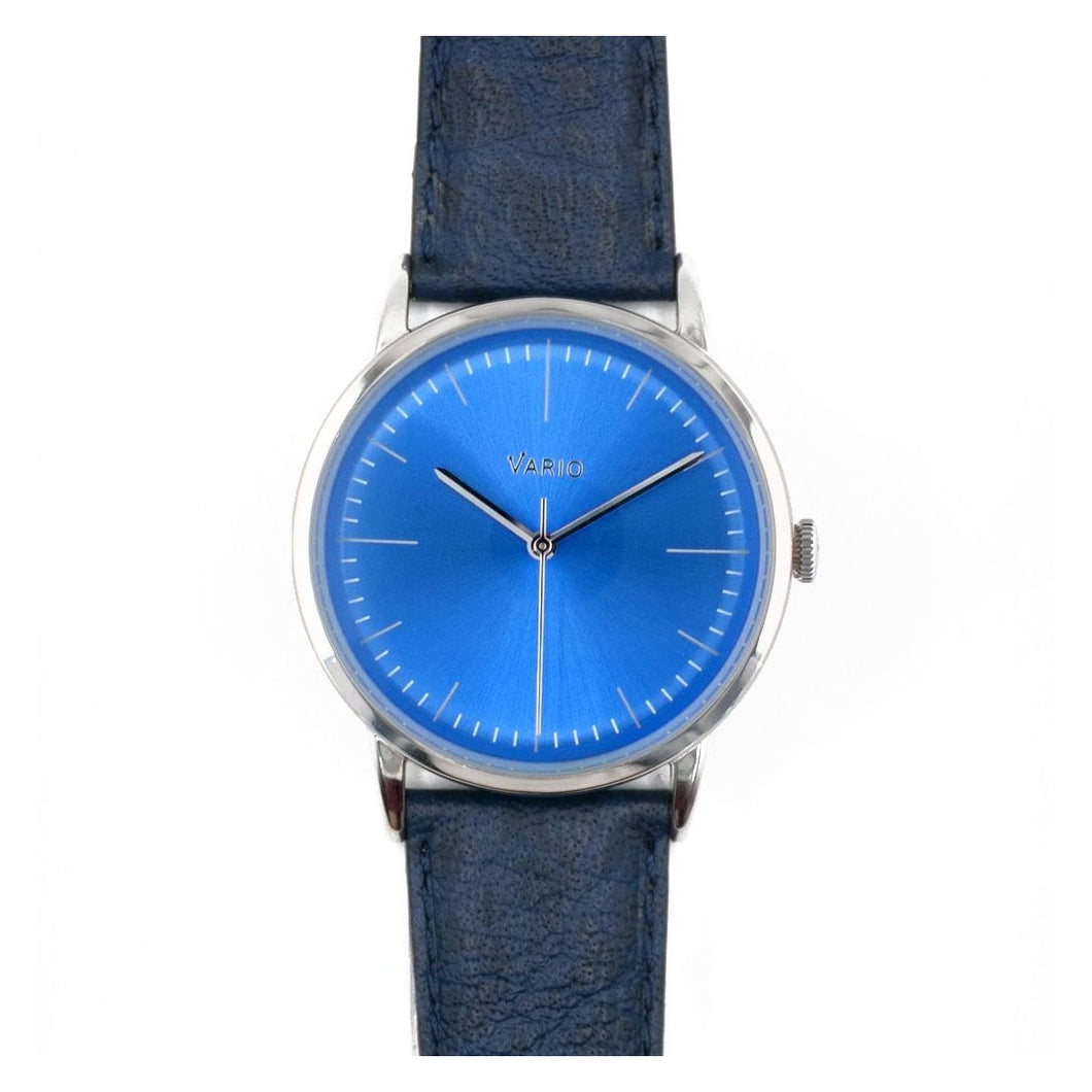 Vario Eclipse Topaz Blue Sweeping Quartz Dress Watch on ZRC Buffalo Watch Strap