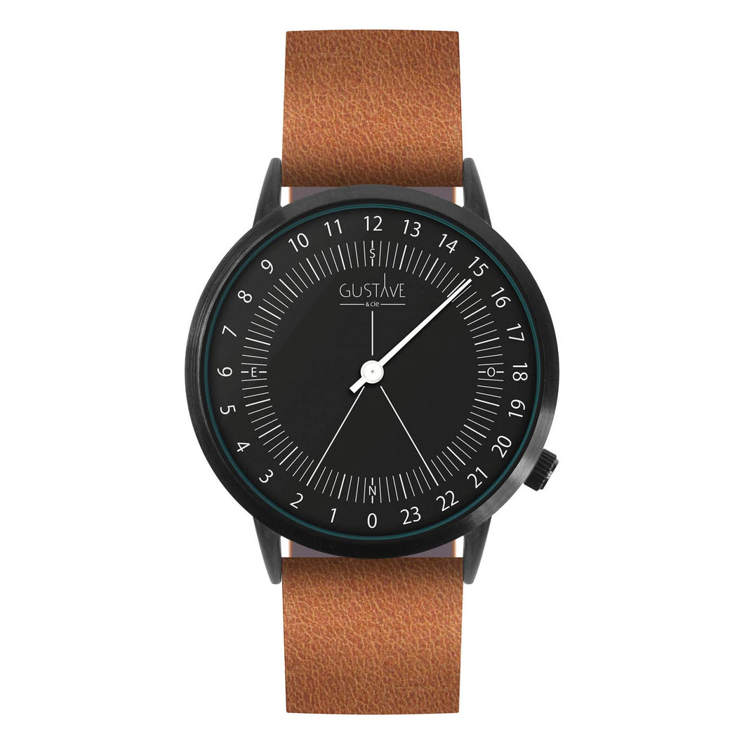Gustave Montre 24H Black - Brown Leather