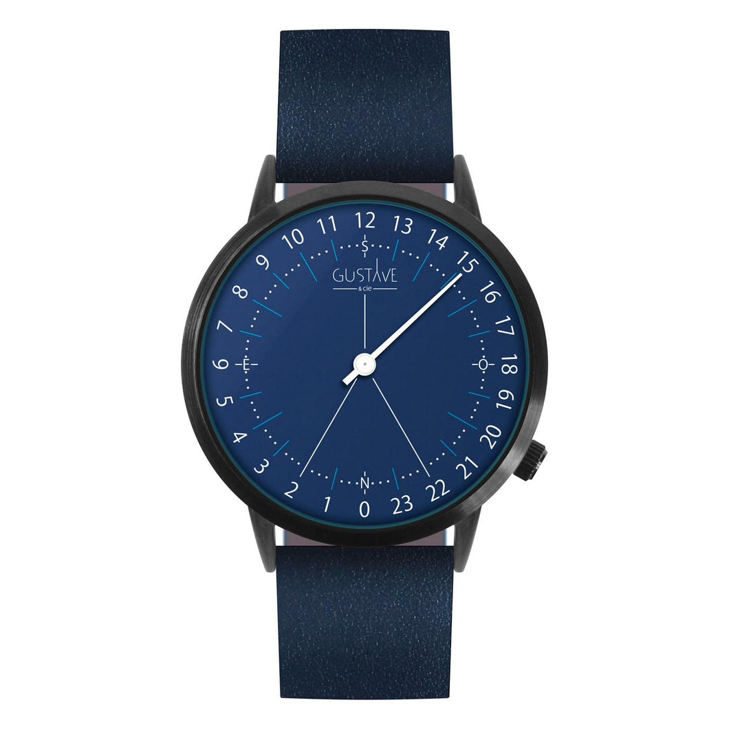Gustave Montre 24H Blue - Blue Leather