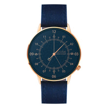 Load image into Gallery viewer, Gustave Montre Louis Blue & Pink Gold - Blue Fabric
