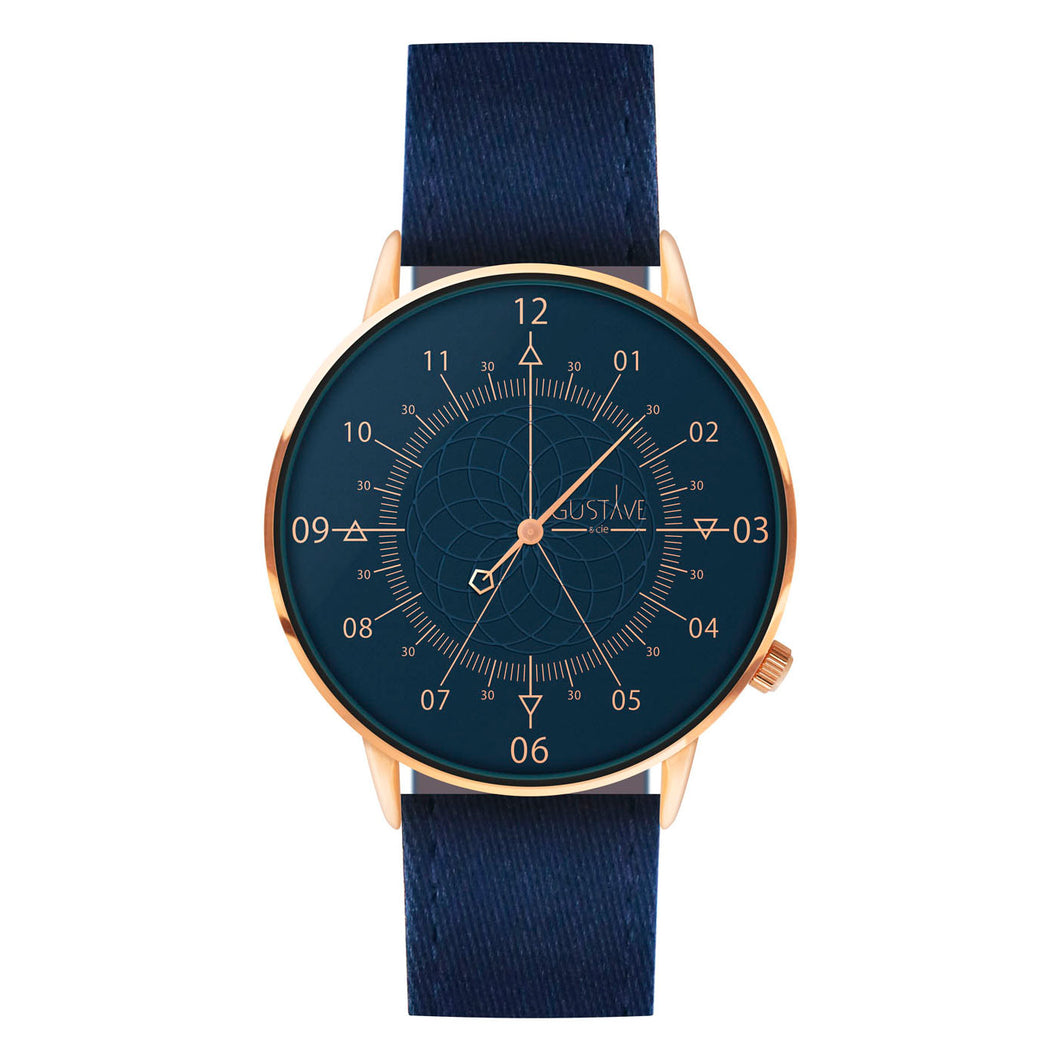 Gustave Montre Louis Blue & Pink Gold - Blue Fabric