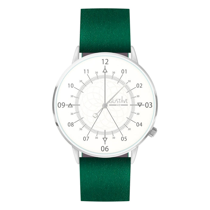 Gustave Montre Louis White & Silver - Green Leather