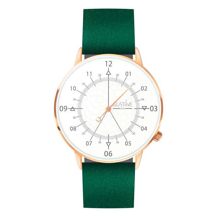 Gustave Montre Louis White & Rose Gold - Green Leather