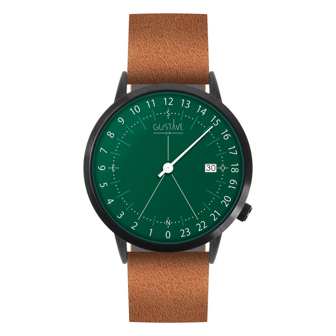 Gustave Montre 24H Green - Brown Leather