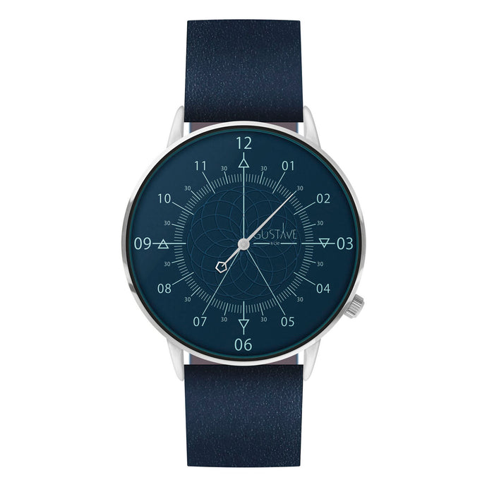 Gustave Montre Louis Blue & Silver - Blue Leather