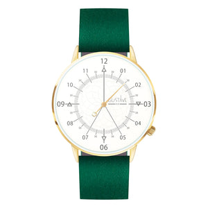 Gustave Montre Louis White & Gold - Green Leather