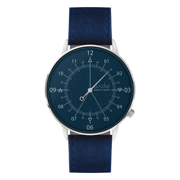 Gustave Montre Louis Blue & Silver - Blue Fabric