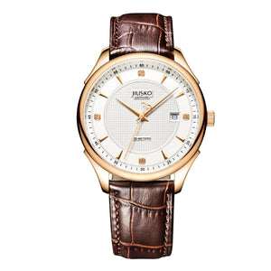 Jiusko Men's, Dress, Quartz, Leather, 50M, 248LRG0107