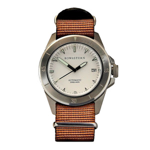 Bow & Stern ABYSS Automatic Dive Watch - Brushed Silver Case (Camel Tan NATO)