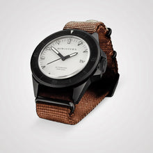 Load image into Gallery viewer, Bow & Stern ABYSS Automatic Dive Watch - Matte Black Case (Camel Tan NATO)