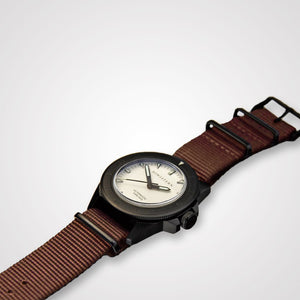 Bow & Stern ABYSS Automatic Dive Watch - Matte Black Case (Camel Tan NATO)