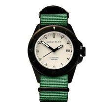 Load image into Gallery viewer, Bow & Stern ABYSS Automatic Dive Watch - Matte Black Case (Army Green NATO)