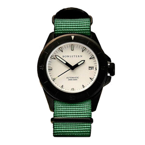 Bow & Stern ABYSS Automatic Dive Watch - Matte Black Case (Army Green NATO)