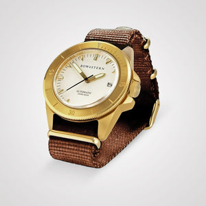 Bow & Stern ABYSS Automatic Dive Watch - Brushed Gold Case (Camel Tan NATO)