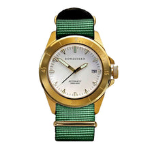 Load image into Gallery viewer, Bow & Stern ABYSS Automatic Dive Watch - Brushed Gold Case (Army Green NATO)