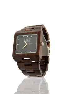 Gufo Dark Black Stone Wooden Watch