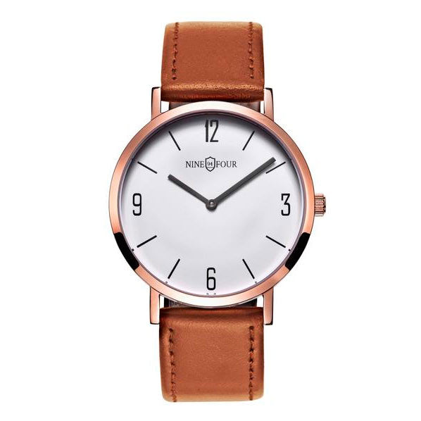 Nine Four Legend - Rose Gold/White Dial/Brown Strap