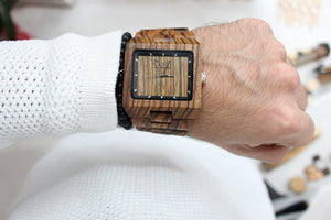 Gufo Zebra Stone Wooden Watch